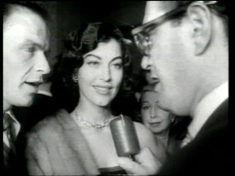 frank sinatra and ava gardner attend a midnight preview for the 'meet danny wilson' movie. - ava gardner stock videos & royalty-free footage
