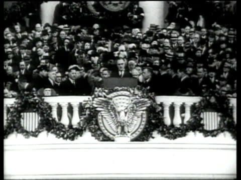 Franklin Delano Roosevelt delivers his inaugural speech