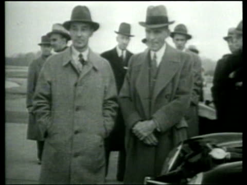henry and edsel ford attend a demonstration of new ford car models - dearborn michigan stock videos and b-roll footage