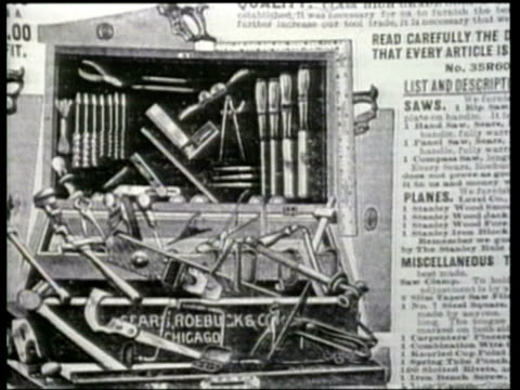 how we lived a montage depicts pages of the sears and roebuck mail order catalogues during the early 1900s - newsreel stock videos & royalty-free footage