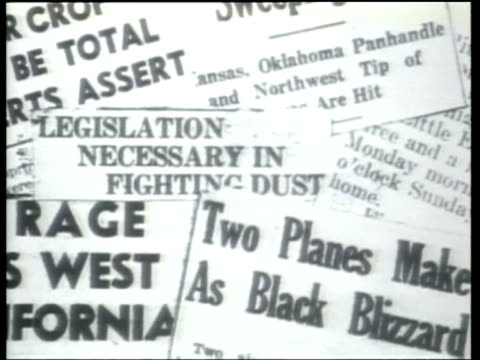 how we lived - newspaper headlines feature dust storms as clouds of dust envelope large areas of the midwest. - newspaper headline stock videos & royalty-free footage