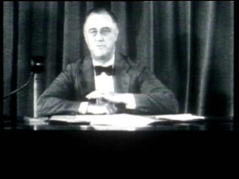 how we lived us president roosevelt advises that his new programs for the greater good may be at the individual expense of some - new deal video stock e b–roll