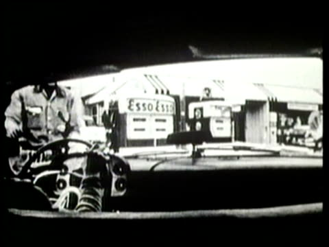 how we lived visiting a gas station 1950s - gas station attendant stock videos and b-roll footage