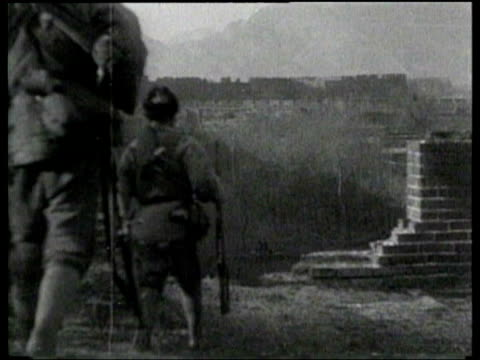 japanese troops attack a chinese city on the manchurian border. - manchuria stock videos & royalty-free footage