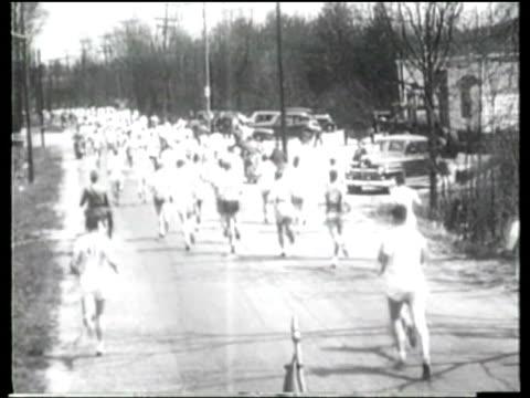 korean suh yun-bok runs to victory in the 1947 boston marathon. - east asian ethnicity stock videos & royalty-free footage