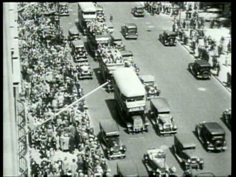 large crowds of unemployed people gather on 5th avenue - newsreel stock videos & royalty-free footage