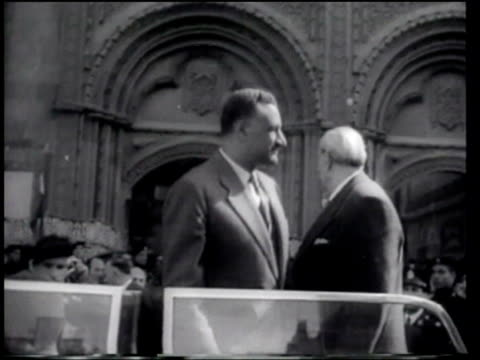 leaders of egypt and syria meet to discuss union of their nations - newsreel stock videos & royalty-free footage