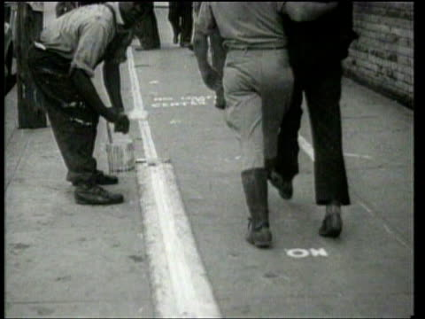 loafers are confronted with lane restrictions in a north carolina town. - 1939 stock-videos und b-roll-filmmaterial