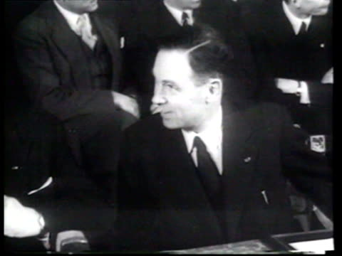 members of six european nations meet in rome's city hall to sign the treaty of rome, an agreement intended to create a european economic union. - rome italy stock-videos und b-roll-filmmaterial