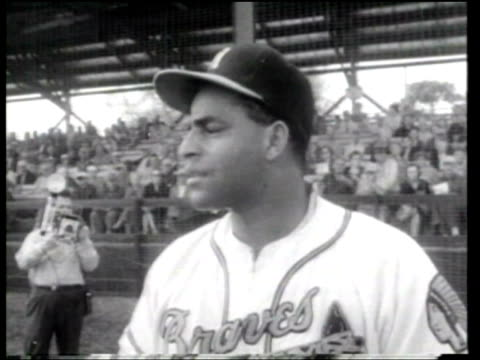 milwaukee braves manager charlie grimm is optimistic with his spring training lineup - eddie mathews stock videos & royalty-free footage