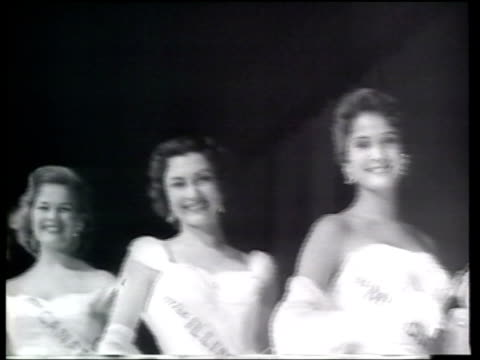 miss mississippi lynda lee mead wins the miss america pageant in front of judges and interested spectators - newsreel stock videos and b-roll footage