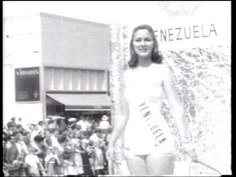 miss universe contest takes place in long beach california - ニュース映画点の映像素材/bロール