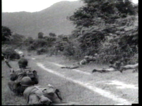 president diem's south vietnamese forces take prisoners and free villagers as they defeat rebels in the countryside - ニュース映画点の映像素材/bロール