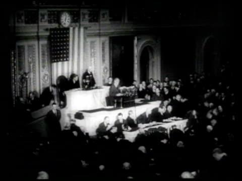president franklin delano roosevelt addresses the united states congress of 1943 - united states congress点の映像素材/bロール