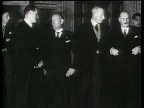 representatives of france germany great britain and italy sign the four power pact in rome - benito mussolini stock videos & royalty-free footage
