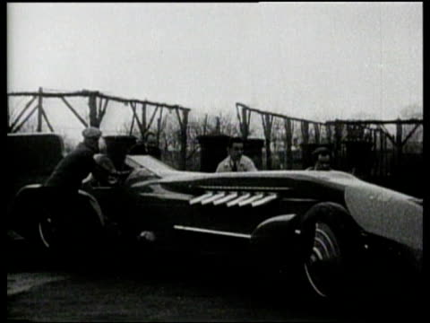 Sir Malcolm Campbell prepares the Bluebird for a world speed record at Daytona Beach