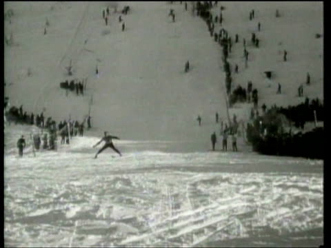 skiers compete in a jumping competition on mount hood in oregon - mt hood stock videos & royalty-free footage