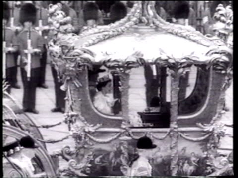 the coronation of elizabeth ii is celebrated by peers guests and british subjects - coronation stock videos and b-roll footage
