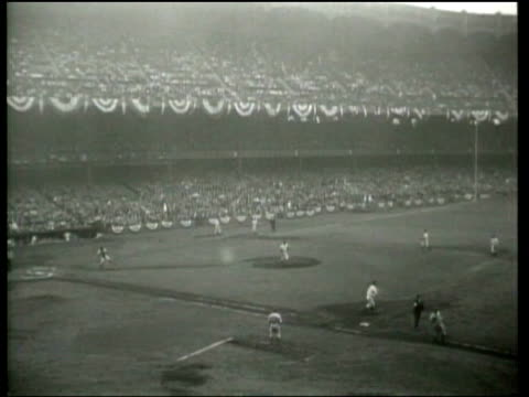 the new york yankees beat the new york giants at yankee stadium in the first game of the 1937 world series - lou gehrig stock videos & royalty-free footage