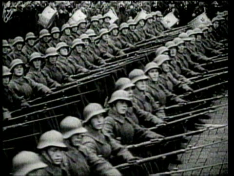 the soviet union invades, and partitions poland. - 1939 stock-videos und b-roll-filmmaterial