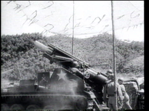 us marines and south korean troops attack communist positions near panmunjom as us aircraft bomb north korean power plants - air vehicle stock videos & royalty-free footage
