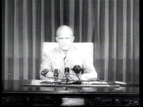 US President Dwight D Eisenhower urges Americans to provide aid to Korean civilians in a televised statement