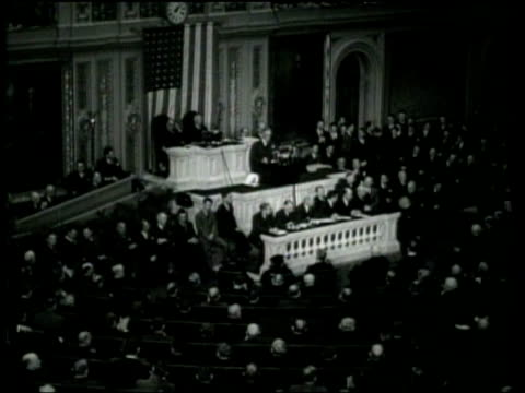us president franklin roosevelt delivers the annual message to congress - rede zur lage der nation usa stock-videos und b-roll-filmmaterial