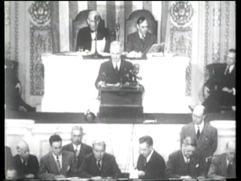 us president truman addresses a joint session of congress in 1947 to aid greece and turkey in the face of communist intervention - 1947 stock videos & royalty-free footage