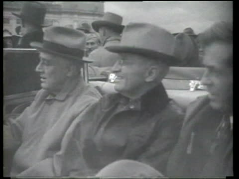 vídeos de stock e filmes b-roll de vice president henry a. wallace, harry s. truman and u. s. president franklin delano roosevelt returning to the united states - arlington virgínia
