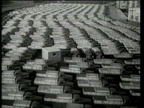 war materials queue up for shipment to england and france. - 1939 stock-videos und b-roll-filmmaterial
