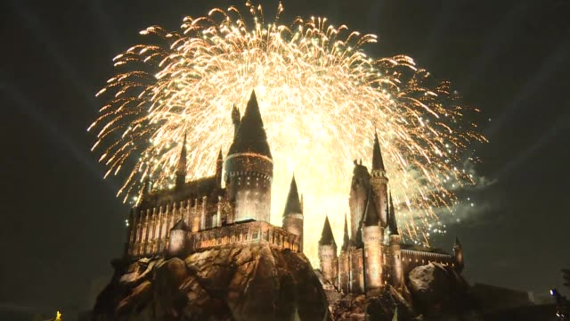 the wizarding world of harry potter fireworks - j.k. rowling stock videos and b-roll footage