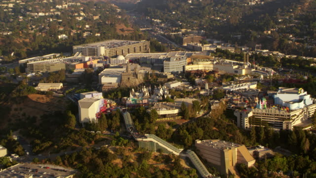 aerial universal studios in los angeles, ca - universal city stock videos & royalty-free footage