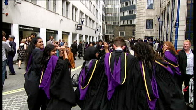universities attack plans for free tuition for poor students; tx 15.7.2010 london school of economics graduate students as they throw their mortar... - cap stock videos & royalty-free footage