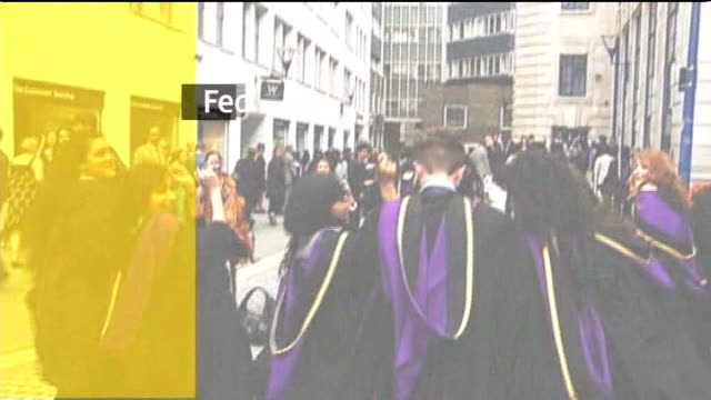 universities told to cushion impact of tuition fees graphicised sequence students graduating with graphics overlaid - cushion stock videos and b-roll footage