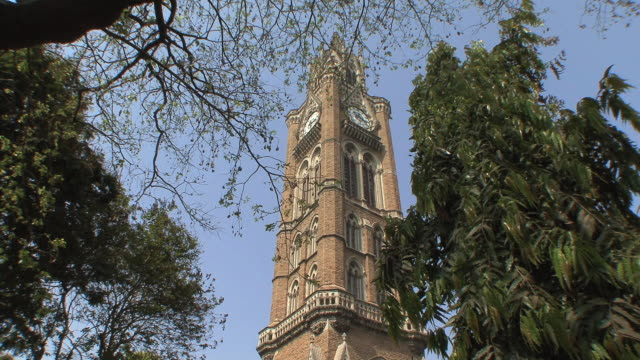 ws la university clock tower, mumbai, india - clock tower stock videos & royalty-free footage