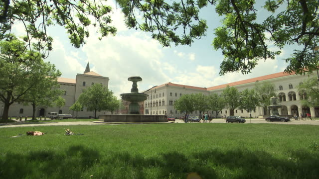 university, geschwister-scholl-platz, fountain, trees, lawn - geschwister stock videos and b-roll footage