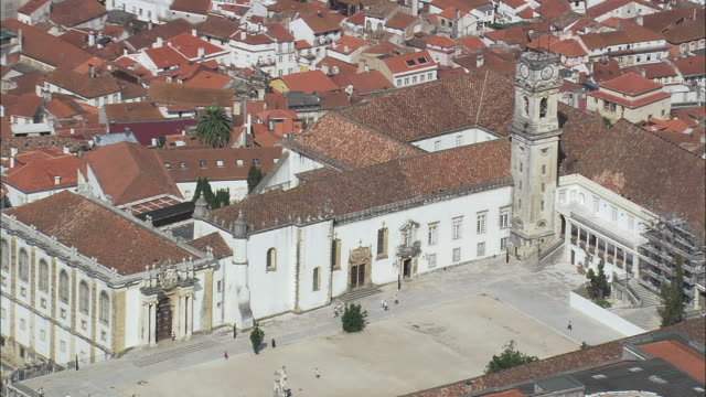 aerial ws zo university hill with cityscape / coimbra, portugal - courtyard stock videos & royalty-free footage