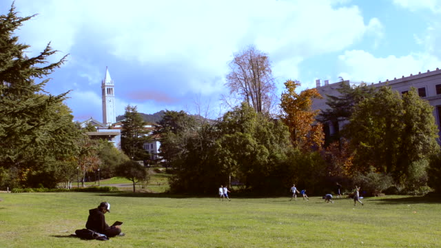 university of california at berkeley with student on laptop while others play frisbee football with sather tower in background on sunny day - organised group stock videos & royalty-free footage
