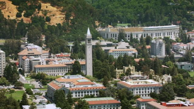 aerial university of california, berkeley and the sather tower - university of california stock videos & royalty-free footage