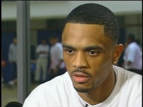 stockvideo's en b-roll-footage met university of maryland basketball standout juan dixon says if he becomes a successful nba player, he wants to open a foundation for under-privileged... - sport