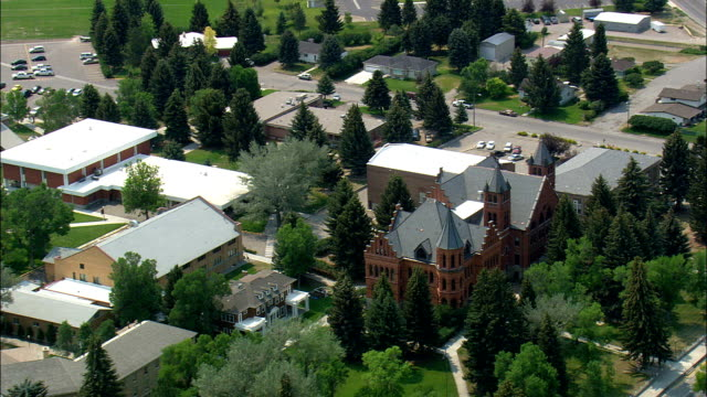 University Of Montana Western  - Aerial View - Montana,  Beaverhead County,  helicopter filming,  aerial video,  cineflex,  establishing shot,  United States