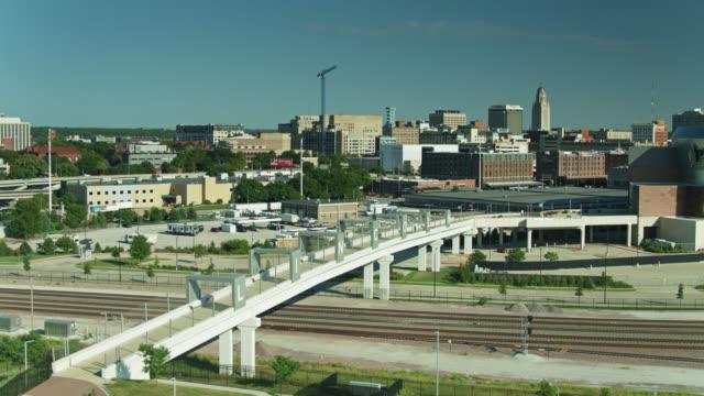 university of nebraska-lincoln buildings and stadiums - drone shot - western script stock videos & royalty-free footage