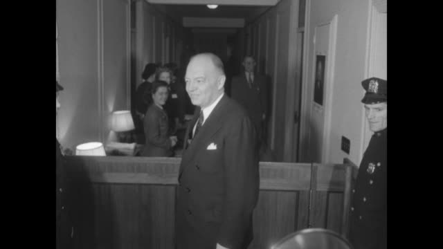 University of Pennsylvania President Harold Stassen in hallway of Commodore Hotel's Eisenhower campaign headquarters / Secretary of State nominee...