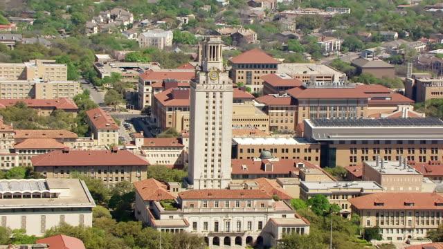 ws aerial zi university of texas tower / austin, texas, united states - texas video stock e b–roll
