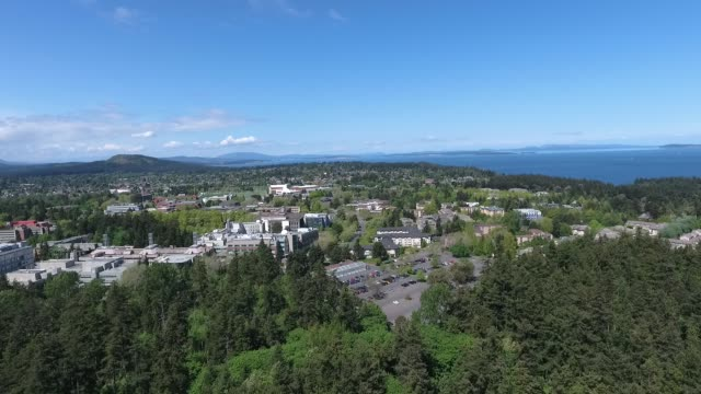 university of victoria on vancouver island aerial - vancouver canada stock videos and b-roll footage