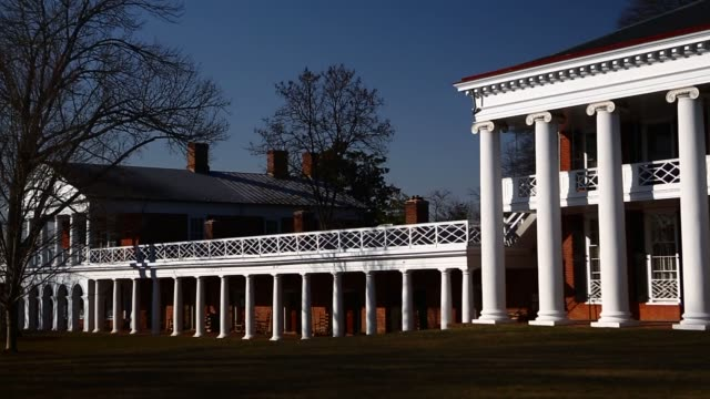 university of virginia pavilion buildings stand next to the lawn on the uva campus in charlottesville virginia us students walk near the alderman... - pavilion video stock e b–roll