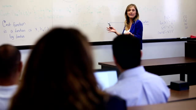 university professor presents classroom lecture - lecturer stock videos & royalty-free footage