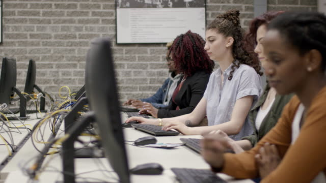 university students attend a computer course - fat camera stock videos and b-roll footage