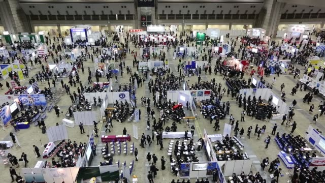 University students attend a job fair hosted by Mynavi Corp in Tokyo Japan on Sunday March 20 2016