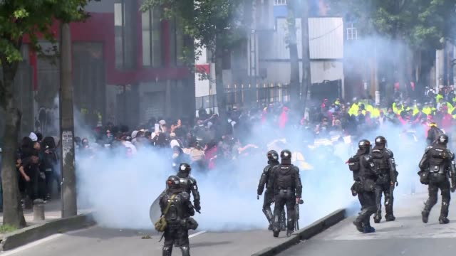 University students joined by teachers indigenous people and trade unionists demonstrate in Bogota over a crisis in public education as well as...